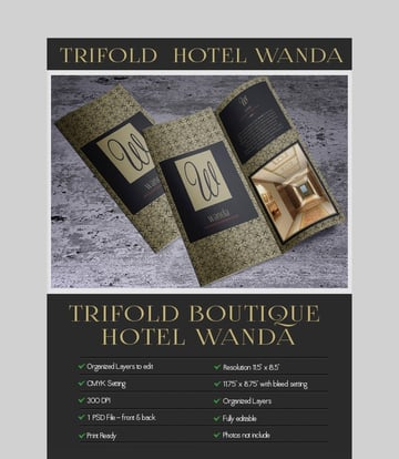 Trifold Hotel Wanda - Luxury Brochure Template Design for Photoshop