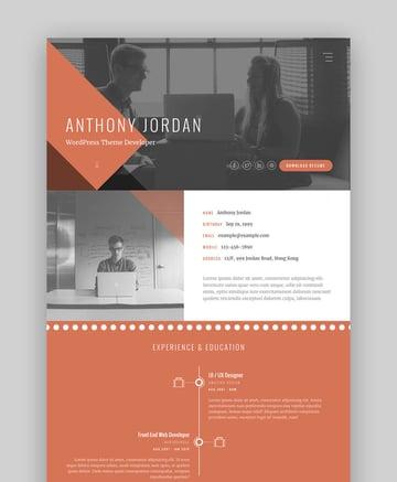 Jordan - Interaktive Lebenslauf-Website-Vorlage mit Portfolio