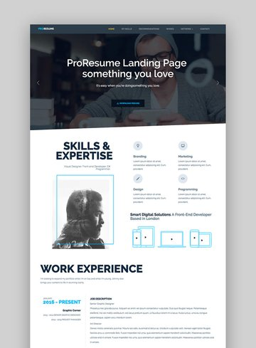 ProResume - HTML-Lebenslaufvorlage für professionelle LebenslaufCV-Site