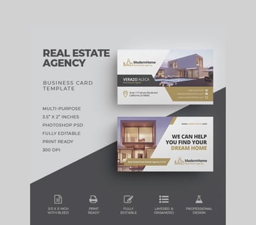 Real Estate Business Card - Customizable Business Card Template