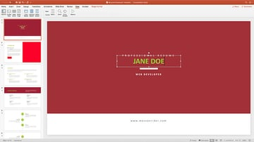 Adding information to a Resume CV PowerPoint Template