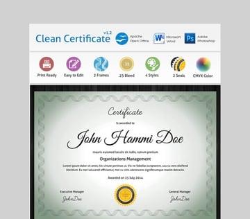 Clean Certificate - Simple Microsoft Word Certificate Template