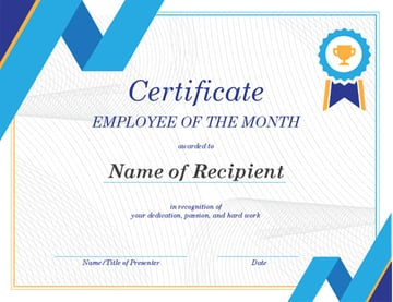 Free Employee of The Month Certificate Template