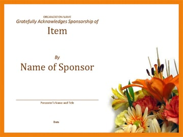 Free Microsoft Word Certificate Template for Sponsors