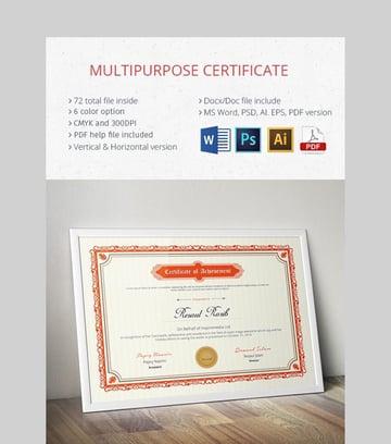 Certificate - Multipurpose Certificate Template Design for Word
