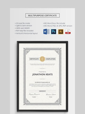 Multipurpose Certificate - Elegant Certificate Template for Word