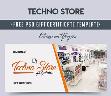 Free Techno Store Gift Certificate Template
