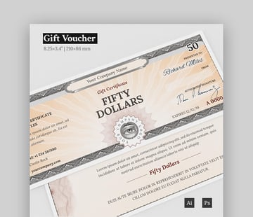 Simple Gift Certificate Template for Photoshop and Illustrator