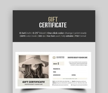 Gift Certificate - Minimal Photoshop Template