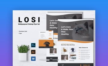 LOSI Pet Shop Business Flyer  Business Card  Informational Template