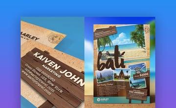 Travel Flyer  Business Card  Vibrant Informational Template Design