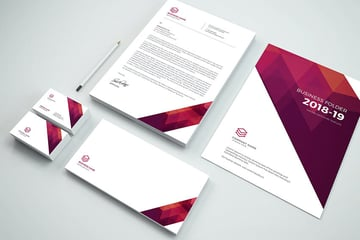 Brand identity package example with warm gradients