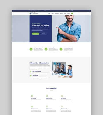 iziPress - Finance Insurance Agency WordPress Theme