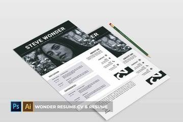 Black and white creative resume design