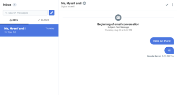 Manage all conversations from our website via one simple inbox interface