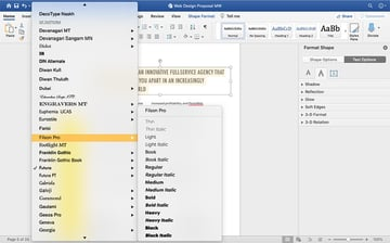 Selecting fonts in the Web Design Proposal template
