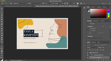 Replacing content in the Business Card Template