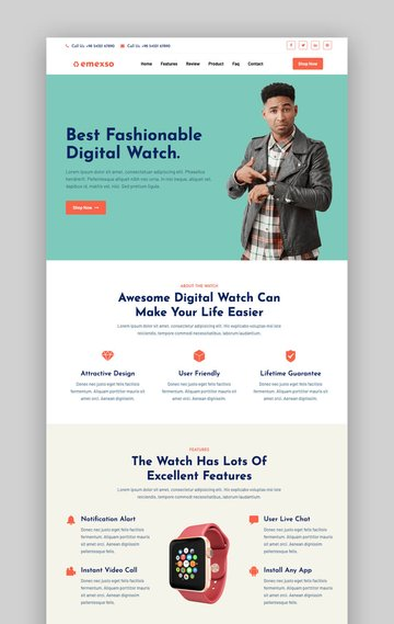 Emexso product landing page template