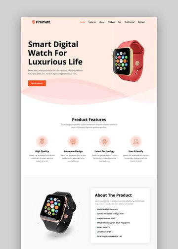 Premat simple product landing page template