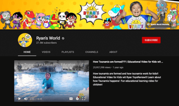 ryan's world youtube channel