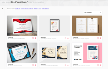 Hundreds of high-quality certificate design templates available for unlimited use on Envato Elements