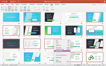 Deleting unwanted slides in Oceans PowerPoint template