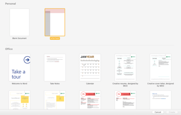 Creating a document from the template