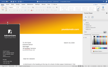 Customizing colors in the letterhead template