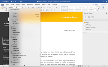 Customizing fonts in a letterhead template