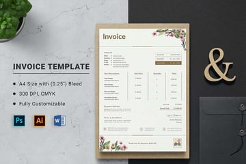 Example of a branded Word Invoice Template on Envato Elements