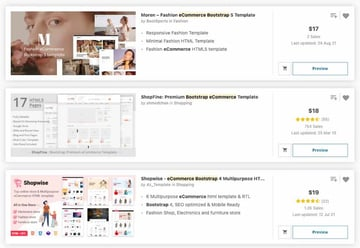 Bootstrap eCommerce templates on ThemeForest