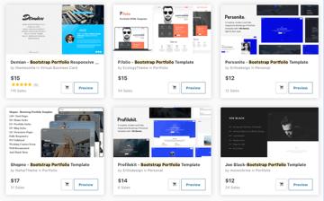 Bootstrap portfolio templates on ThemeForest