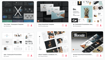 PowerPoint templates with collage support on Envato Elements