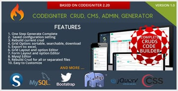 Codeigniter CMS - CRUD Builder - Administrator