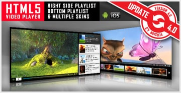 HTML5 Video Player with Playlist Multiple Skins