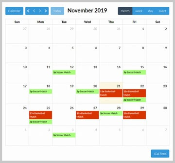 All Sports Events in Sports Calendar