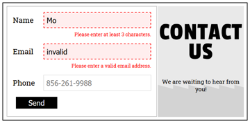 Form Validation Error Message