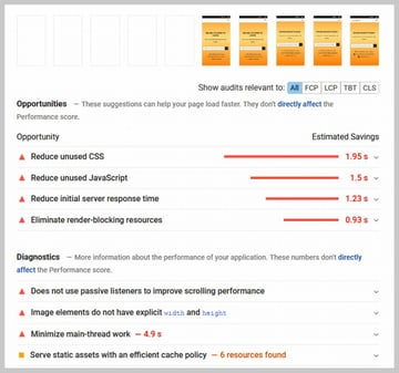 Pagepseed Insights Report for a Website