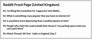 Reddit Homepage (United Kingdom)