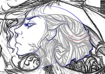 Adding Detail to the Hair Line work 1