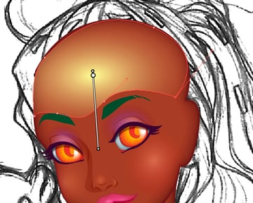 Adding Shine to Forehead