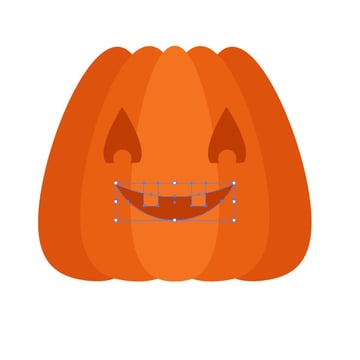 placing the mouth and teeth on the pumpkin