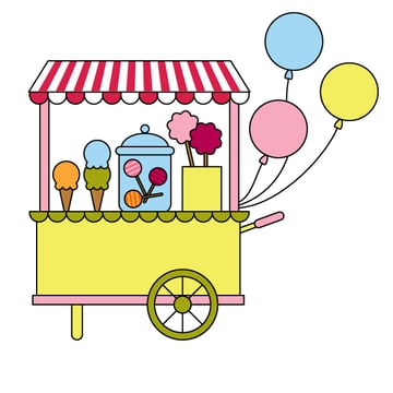 placing the balloons on the candy cart