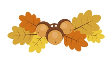 arranging leaves and acorns