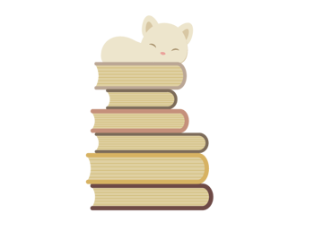 placing the cat on top of books