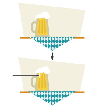 creating the foam of the beer
