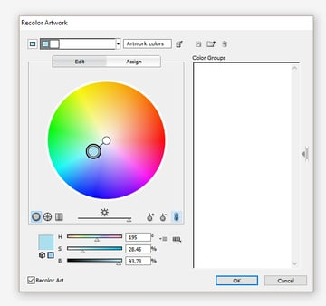 Recolor Artwork dialogue window