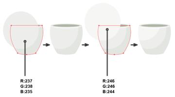 adding volume to the flower pot illustration