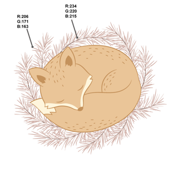 drawing the needles of spruce branches