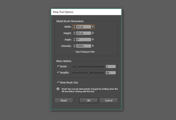 warp tool options